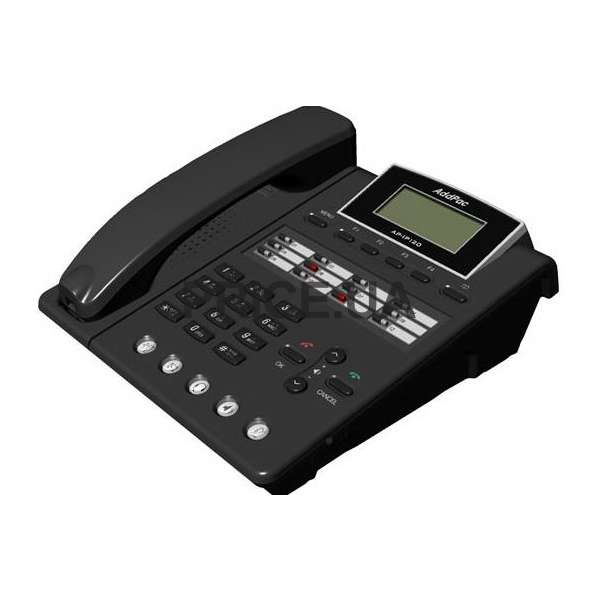 Фотография товара 'AddPac Phone (2x10/100 Fast Ethernet, LCD), черный, IP-телефон, 1xFXO, POE ADD-AP-IP120NEP'